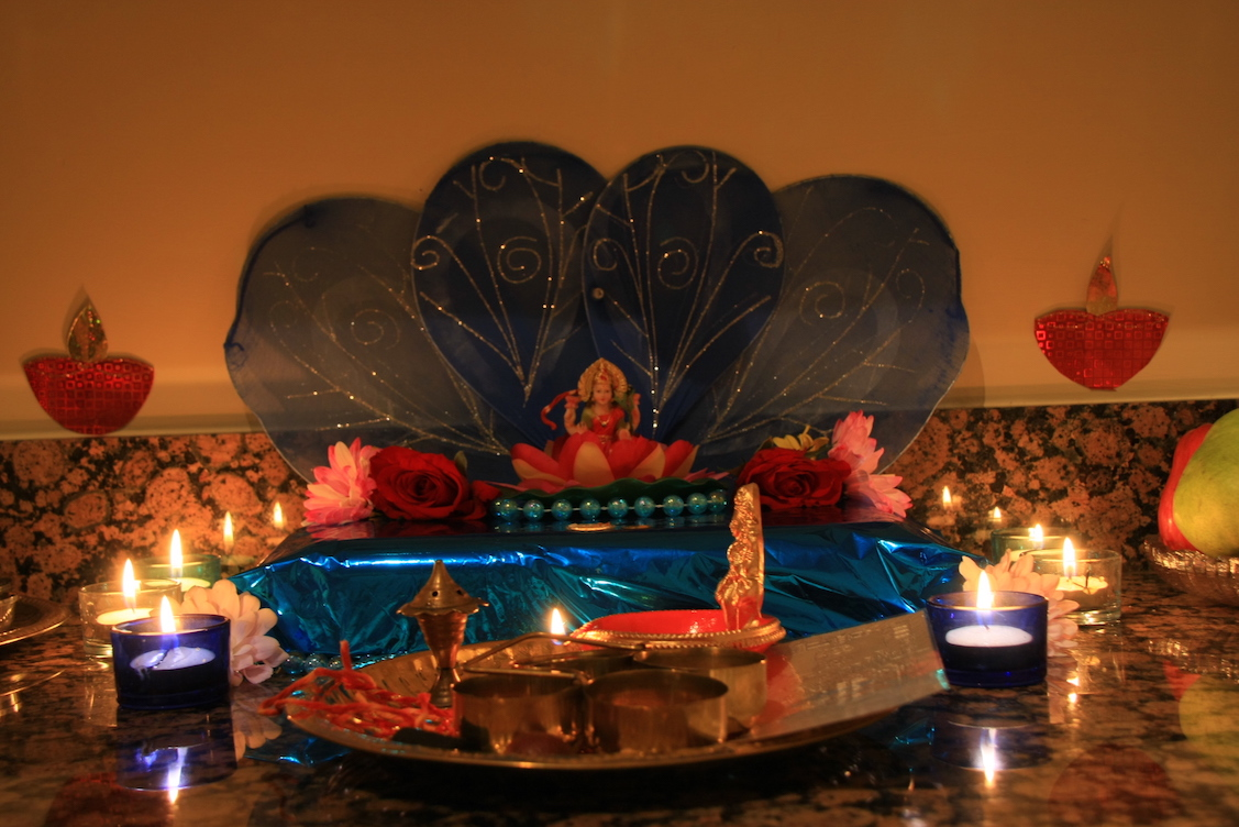 Goddess Lakshmi inside a home for Diwali Puja