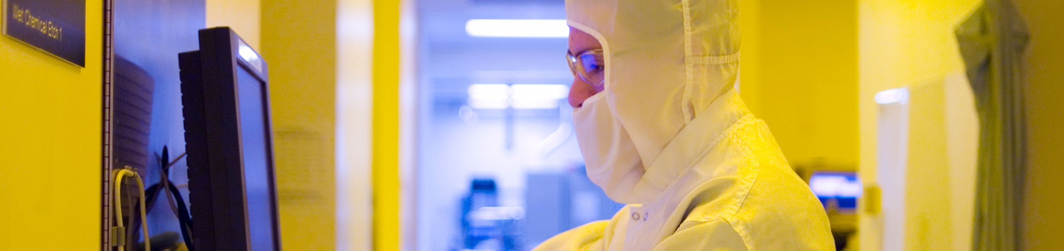 A student researcher in the microelectronics lab