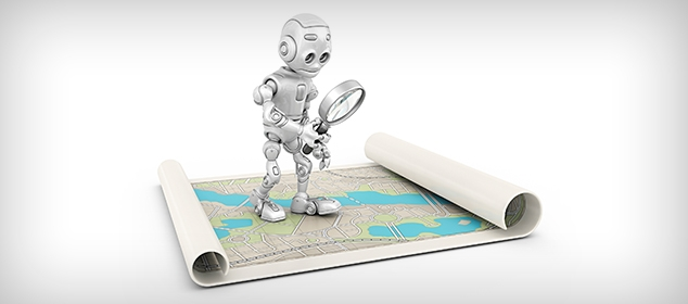 a robot with a magnifying glass looking at a map