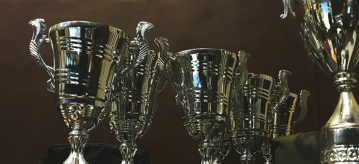 Trophies on a black background