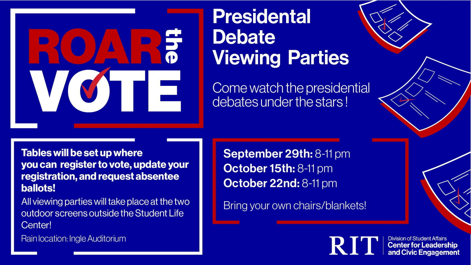 Come watch the presidential debate under the stars! Join ROAR the Vote as we screen the presidential debate on our two outdoor screens. You can also register to vote and request an absentee ballot!  The debate is scheduled to start at 9pm. Please bring your own blanket/chairs to sit on!  Masks are required if 6 ft. distancing isn't possible. We have requested ASL interpreters and will screen the debate with captions (if available).