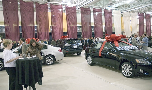 Cars indoors at the Gordon Field House