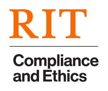 """""""RIT"""" in orange stacked over a black line with """"Compliance and Ethics"""" in black"""