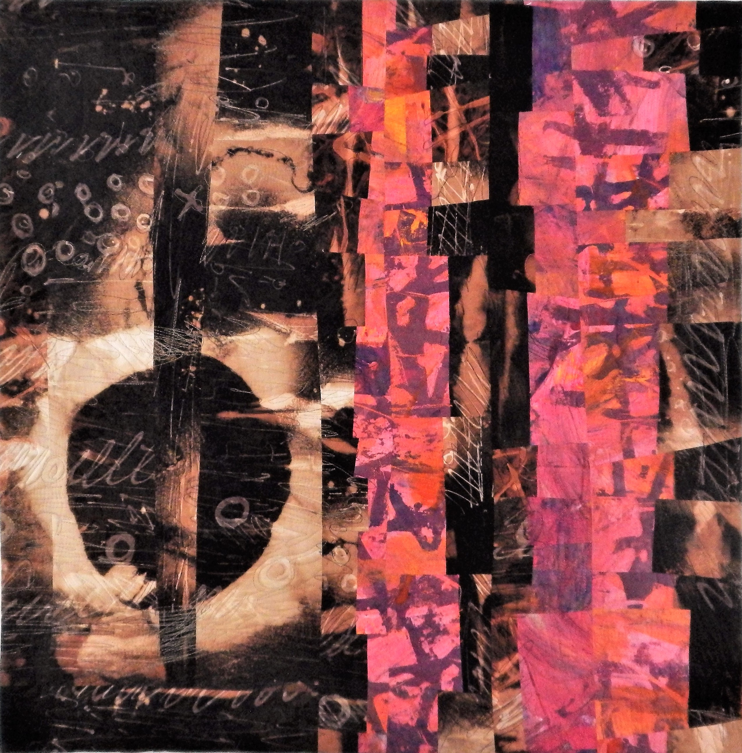 Contemporary art quilt with abstract design in browns, beige and pink