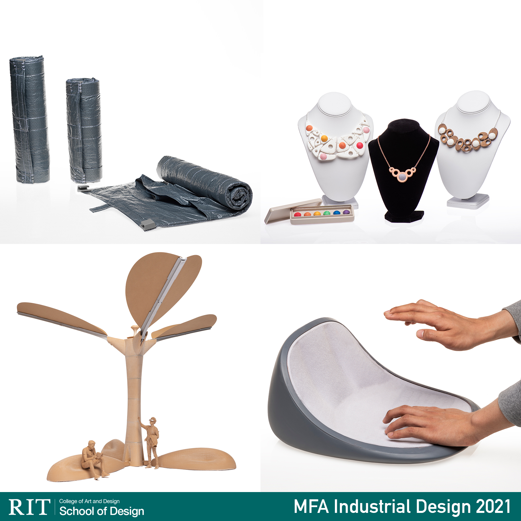 Images of industrial projects - safety blanket, sectional jewelry, social pod resembling a palm tree