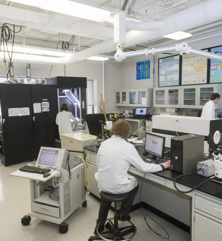 Interior of NPRL Lab with four researchers working