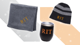 RIT branded items: hat, towel, coffee cup