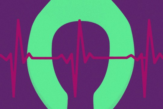 Graphic of green toilet seat on purple background with EKG graph