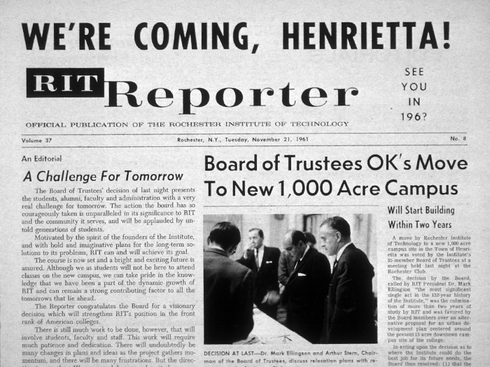 Newspaper article announcing RIT move to henrietta