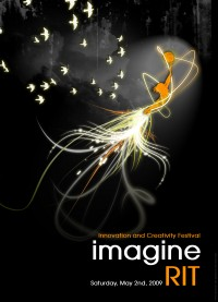 A filled-in orange outline of a student appears to be diving with curvy beams of light coming out of their feet. White birds appear in the top left, and the whole poster has a black background.