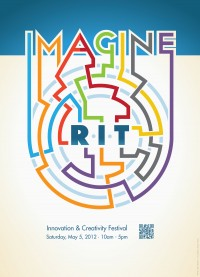 The letters of imagine appear in different colors and a line from each one navigates a circular maze in the center of the poster. At the center of the maze is the word RIT.