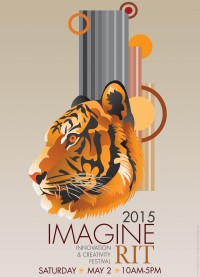 The profile of a tiger head with lines and circles around it. The poster is primarily orange, brown, and gray colored.