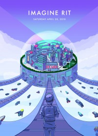 Several pathways lead to a floating, dome-enclosed city on this primarily blue and purple poster. A person in the front center of the poster is walking down the center path toward the city.