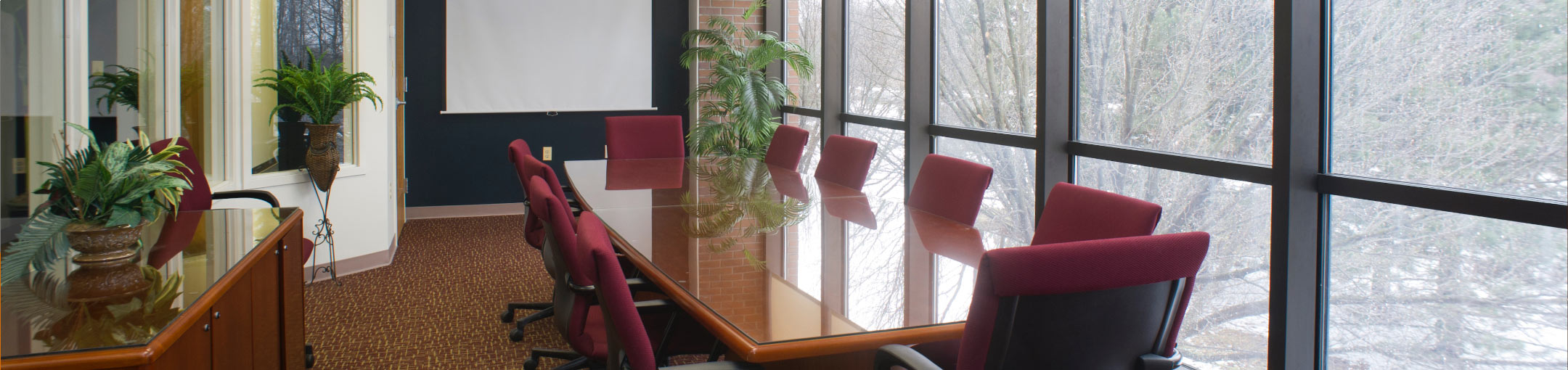 An interior view of a conference room in the Venture Creations building on Tech Park Drive.