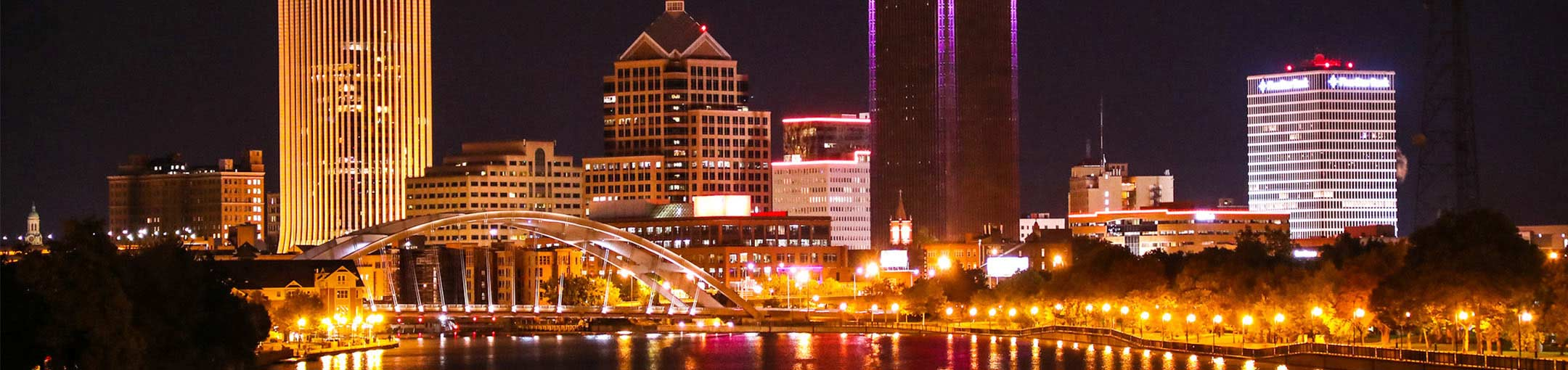 Skyline of Rochester New York at night