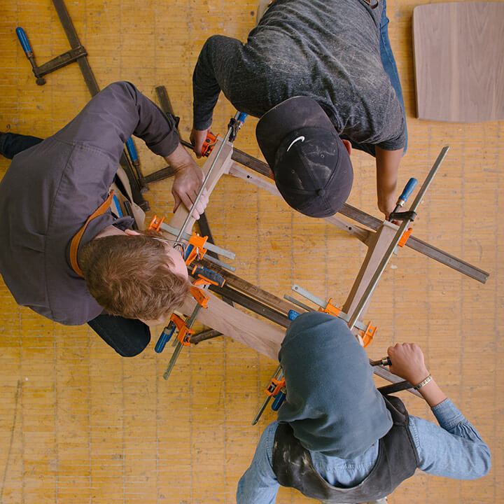 overhead view of students doing woodworking