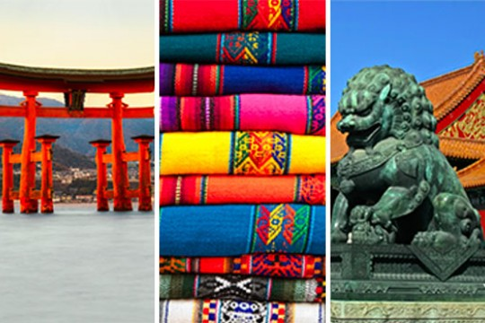 The photo is split into three vertical sections. The left section features a red, Japanese Torii, the middle is a close up photo of colorful, embroidered Spanish fabric stacked on top of  each other, and the third is a photo of a Chinese guardian lion.