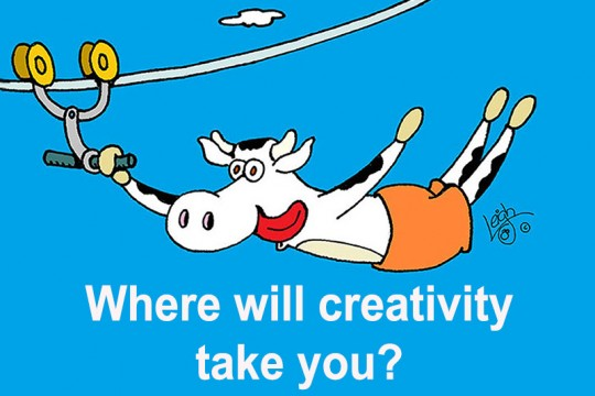 Cartoon of cow on zipline with text: Where will creativity take you?