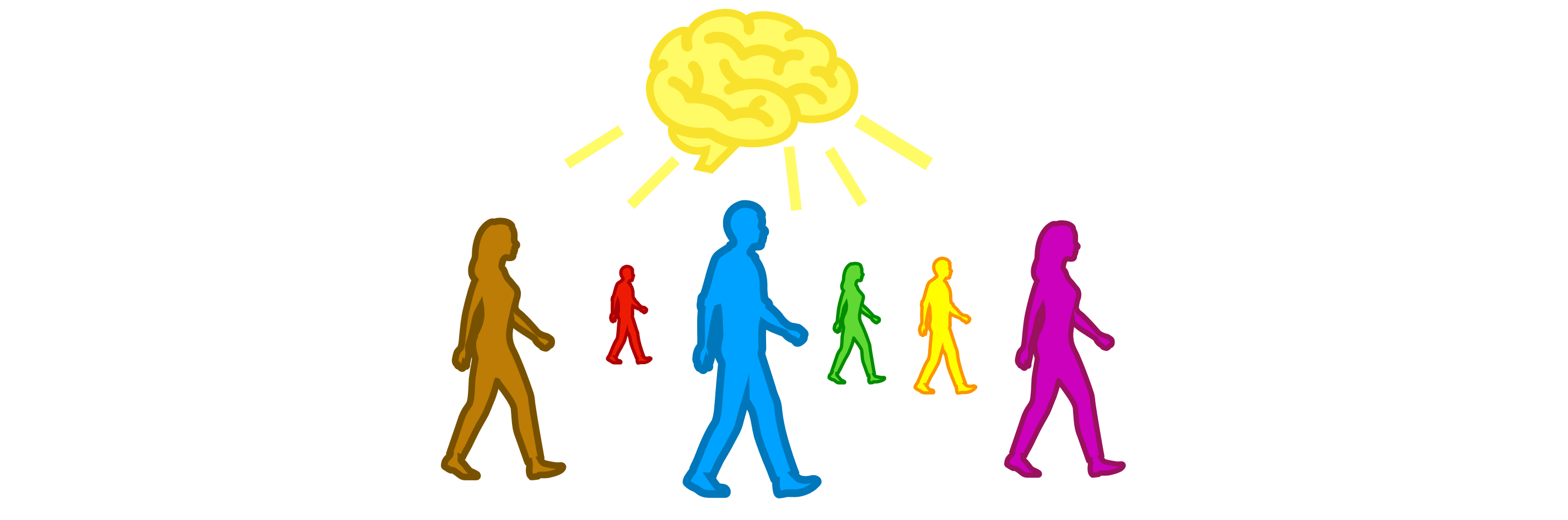 Drawing of people walking with a brain above