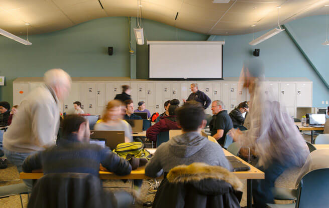 Long exposure of a classroom full of students