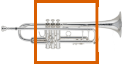 Closed content frame example highlighting a trumpet