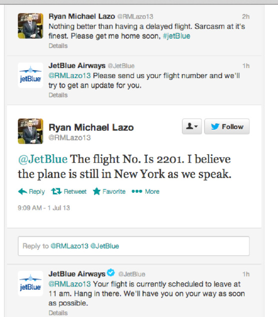 JetBlue twitter engagement example