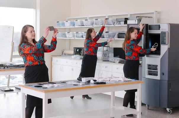 Multiple exposures of scientist in lab