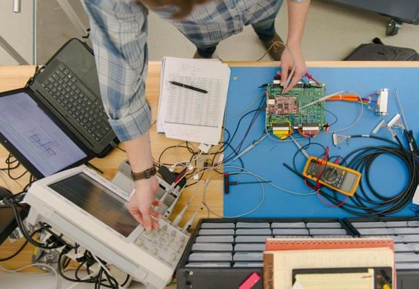 Overhead perspective of electronics