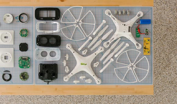 Overhead perspective of components of a drone