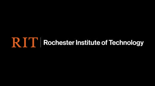 Orange RIT with white Rochester Institute of Technology on black background.