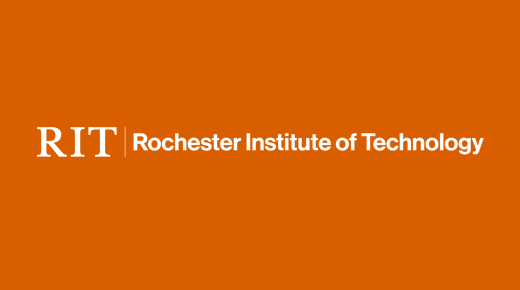 White RIT with white Rochester Institute of Technology on orange background.