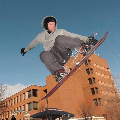 Student snowboarding