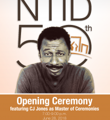 """CJ Jones sits in front of the NTID's 50th logo, with text reading """"Opening Ceremony featuring CJ Jones as Master of Ceremonies, 7-9 p.m. June 28, 2018, Gene Polisseni Center"""""""
