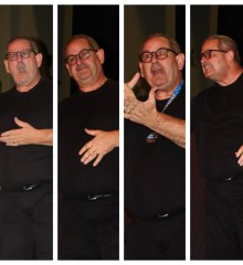 A series of four photos shows Kent Kennedy performing various signs.
