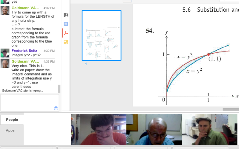 Two math tutors are helping a student with the calculus topic of substitution and area between curves through chat and visual demonstration all while using Google plus hangout.