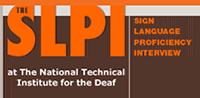 Screenshot of SLPI website, saying SLPI Sign Language Proficiency Interview at NTID