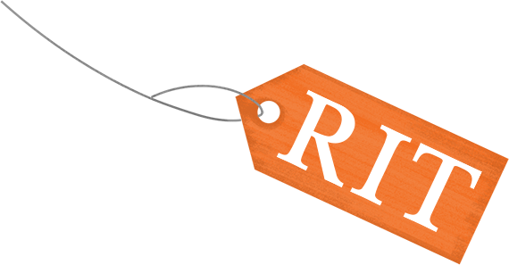 Illustration of a price tag with the RIT logo