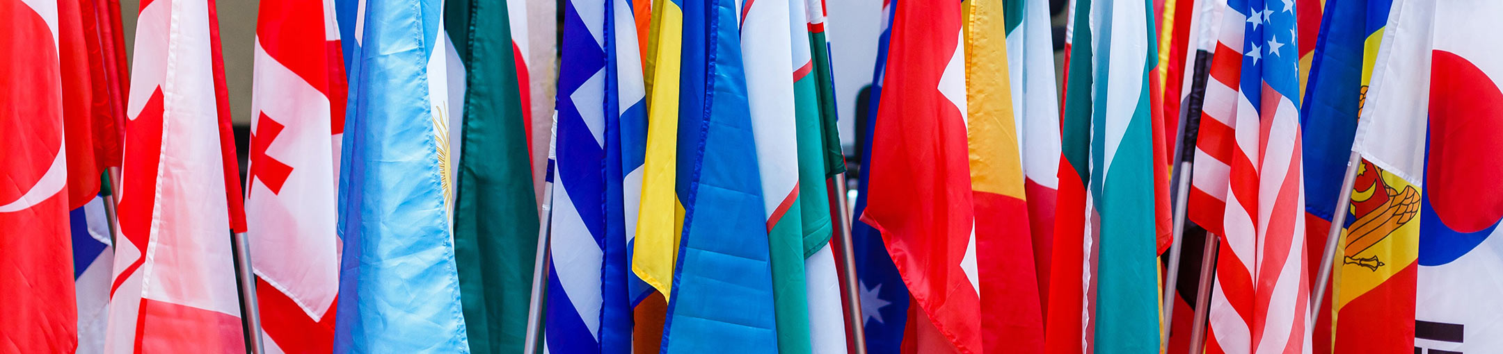 Photo of several colorful international flags in a row