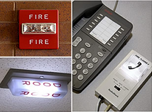 Montage of photos of fire alarm, phone adapter, and ceiling warning light alarm