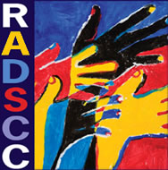 RADSCC logo, painting by Nancy Rourke, RADSCC vertically up the side near hands of different colors.