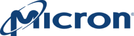 Micron logo: the word Micron with tilted circle around the M