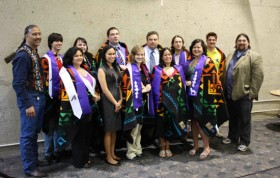 RIT was recognized as one of the top 200 colleges in the U.S. for Native American students. One of the keys to that success is the Future Stewards Program. Each year, students who participate in the program and who will graduate from RIT are recognized in an honoring ceremony like this one from the 2011-2012 academic year.