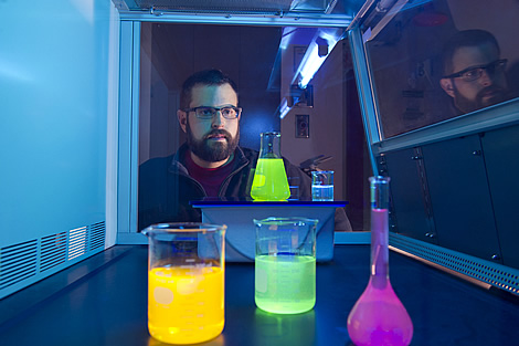 Photo of Pagano in chemistry laboratory
