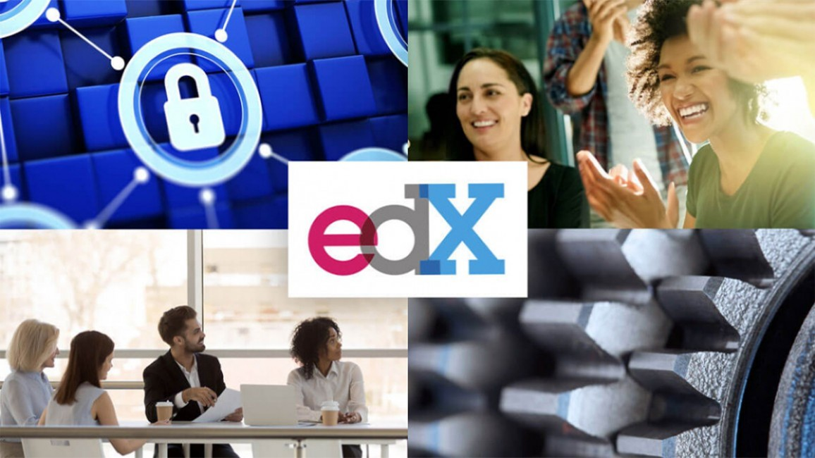 Collage with the edX logo in the center.