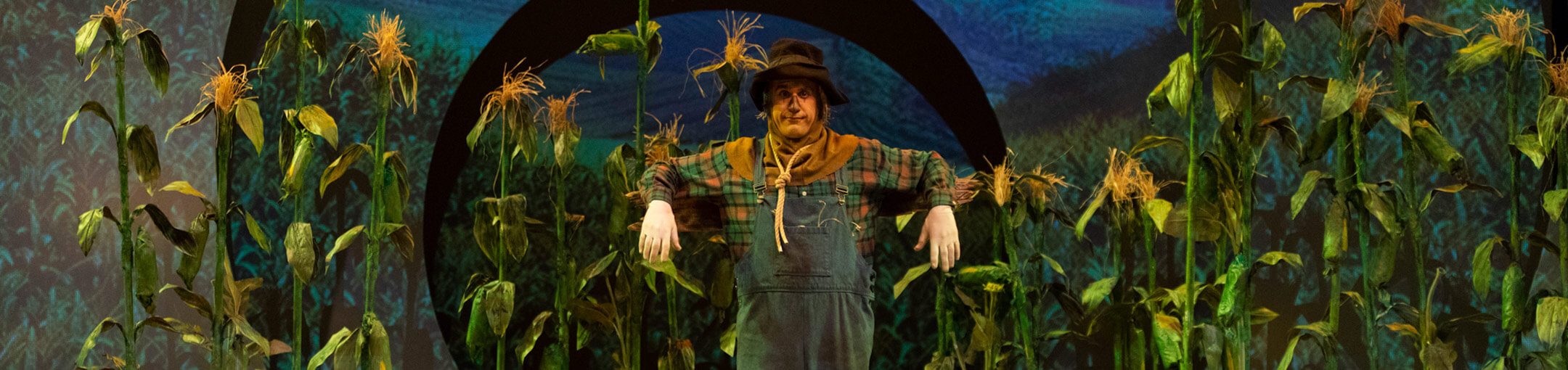 An RIT actor playing the part of the scarecrow from the Wizard of Oz.