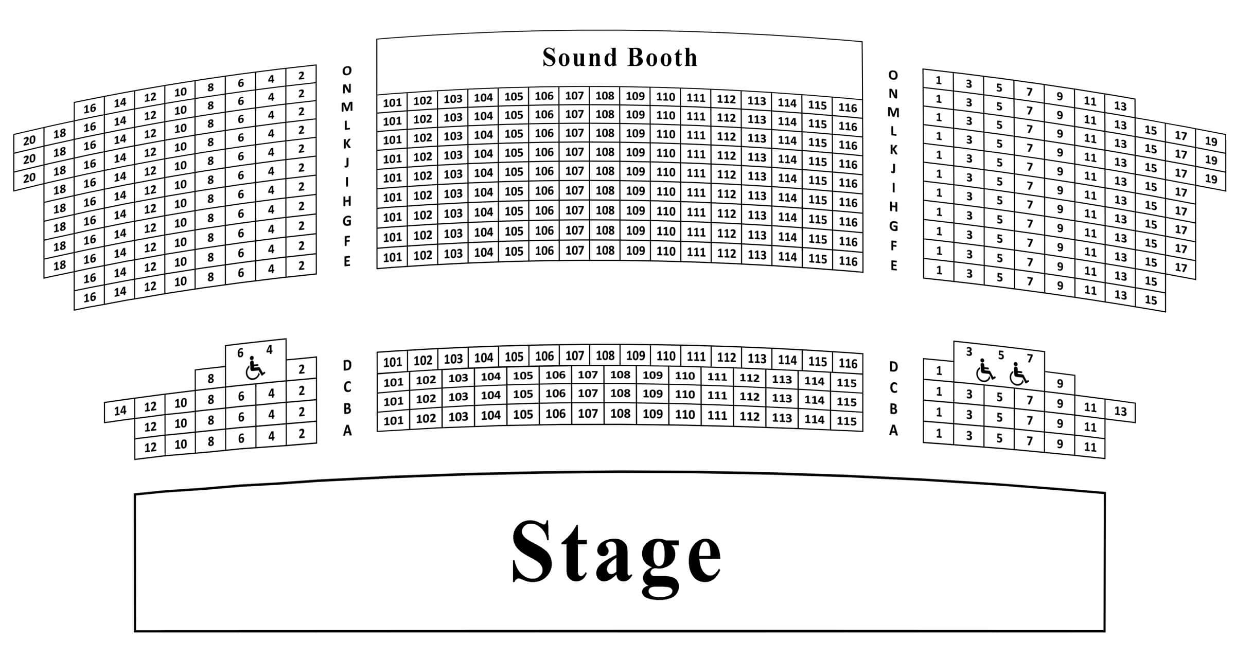 A seating chart for the Robert F. Panara Theatre