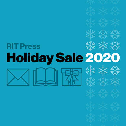 "Blue background with text ""RIT Press Holiday Sale 2020,"" and an image of an envelope, book, and gift box."