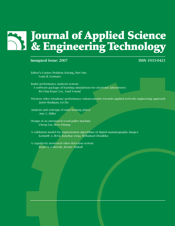 Jaset Journal Of Applied Science And Engineering Technology Issue 1 Rit Press Rit