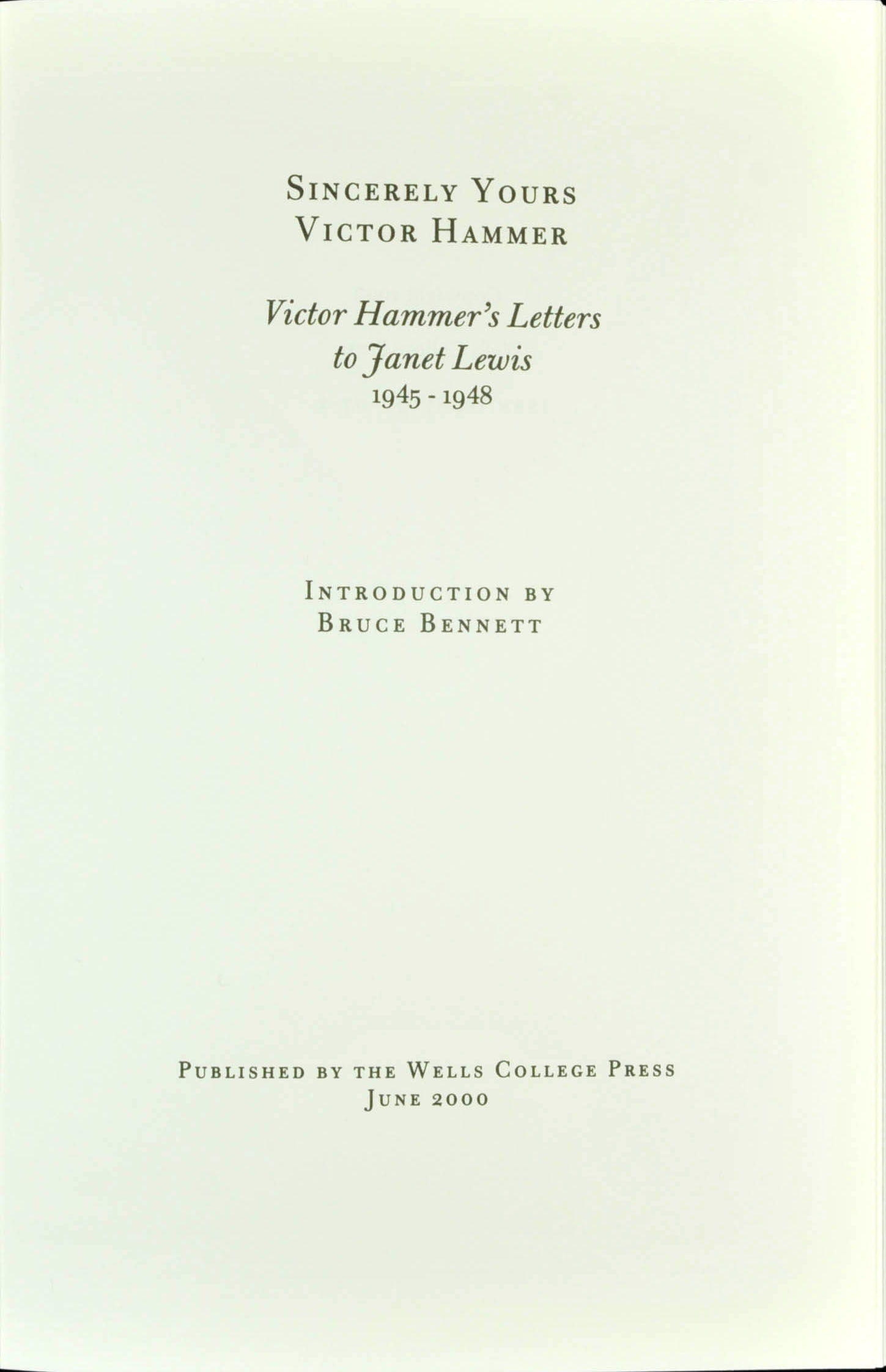 Sincerely yours victor hammer victor hammers letters to janet sincerely yours victor hammer victor hammers letters to janet lewis 1945 1948 spiritdancerdesigns Choice Image