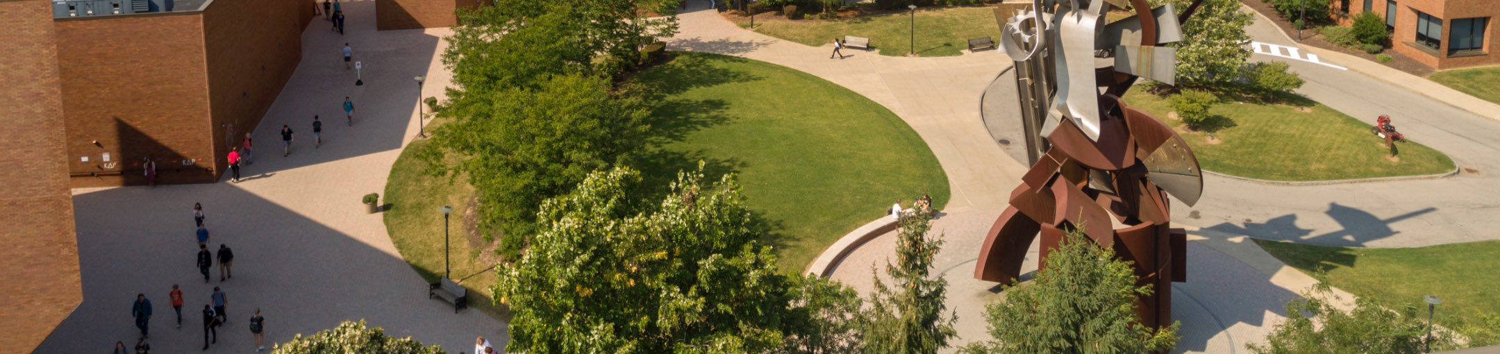 Overhead view of the sentinel on campus.